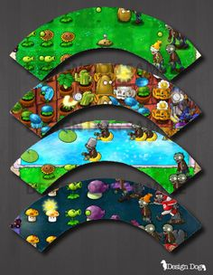 Plants vs Zombies Cupcake Wrappers Set of 4- Instant Download!
