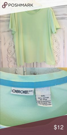 Green Crew Neck Tee 100% cotton, selling same shirt in another color Cherokee Tops Tees - Short Sleeve