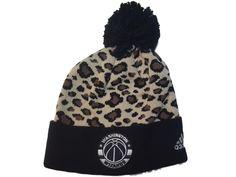 4be7b0616ba Washington Wizards Adidas Leopard Print Acrylic Knit Cuffed Beanie Hat Cap  Poof