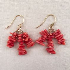 Stacked Coral Branch Clusters, 14k Gold Fill Earrings, Coral and Gold Earrings, Coral Earrings, Handmade Jewelry, Gift Ideas by onceuponakate on Etsy https://www.etsy.com/listing/485947289/stacked-coral-branch-clusters-14k-gold