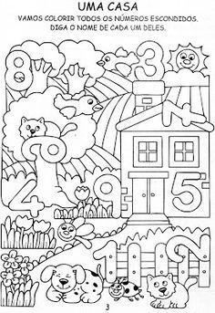 Help ao Professor: Atividades de matemática para ano e pré. Numbers Preschool, Preschool Learning, Kindergarten Math Worksheets, Preschool Activities, Hidden Pictures, English Activities, Math For Kids, Home Schooling, 1st Year