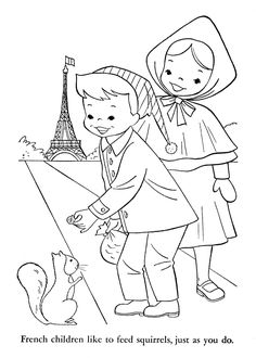 Children of Other Lands, 1954 — France, Switzerland, Italy, Germany – Q is for Quilter Colouring Pages, Coloring Pages For Kids, Coloring Books, Coloring Sheets, France 4, Feather Tattoo Design, Kids Around The World, Thinking Day, Country Crafts