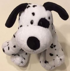 TY Pluffies Dalmation Puppy Dog Black Spots Plush Lovey Dotters Baby 2010 EUC #TY