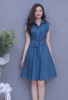Đầm xòe cổ sơ mi cột nơ eo màu xanh Simple Dresses, Casual Dresses For Women, Cute Dresses, Short Dresses, Girls Dresses, Frock Patterns, Girl Dress Patterns, Frock Fashion, Denim Fashion