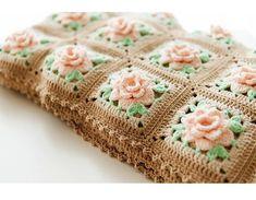 - Beautiful Crochet Rose Granny Square Afghan Pattern People Love To Receive [Video Tutorial] - Knit And Crochet Daily, crochet square afghan - Motif Bikini Crochet, Crochet Tunic Pattern, Crochet Flower Patterns, Crochet Blanket Patterns, Baby Blanket Crochet, Crochet Flowers, Gown Pattern, Daisy Flowers, Crochet Blocks