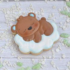Sleepy bear Baby Cookies, Baby Shower Cookies, Birthday Cookies, Sugar Cookies, Sugar Animal, Sleepy Bear, Bear Images, Man Birthday, Fourth Of July