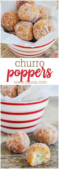 Churro Poppers - These little balls of dough, fried and rolled in cinnamon sugar, are hard to resist! You'll want to make lots cause these disappear fast! Donut Recipes, Mexican Food Recipes, Baking Recipes, Sweet Recipes, Mexican Snacks, Mexican Desserts, Just Desserts, Delicious Desserts, Yummy Food