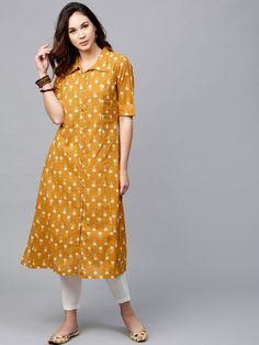 Buy AKS Women Mustard Yellow Printed A Line Kurta - Kurtas for Women 2463731 | Myntra