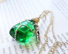 Wire Wrapped Green Obsidian Necklace Positive Healing Reiki