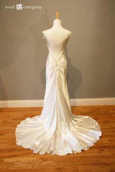 Smooth Satin Sexy Low Back Wedding Dress  Natalie Style