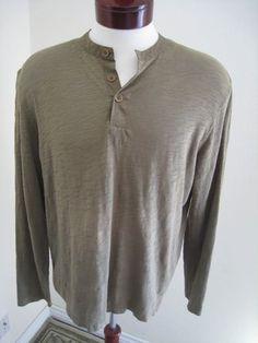 John Varvatos Henley T-shirt Long Sleeve Olive Slub sz L Men's Jersey