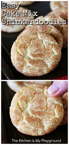 Easy Cake Mix Snickerdoodles ~ Want an easy way to enjoy the cinnamon-sugar deliciousness of Snickerdoodle cookies? This Cake Mix Snickerdoodles recipe has got you covered! Just combine a boxed cake mix with a few simple ingredients, roll in cinnamon sugar, and you're good to go with baking up a delicious batch of super easy Snickerdoodles. #cakemixcookies #snickerdoodles #cakemixsnickerdoodles www.thekitchenismyplayground.com Cake Mix Desserts, Cake Mix Cookie Recipes, Delicious Desserts, Cake Mixes, Boxed Cake Recipes, Drop Cookie Recipes, Box Cake Mix, Snack Recipes, Dessert Recipes