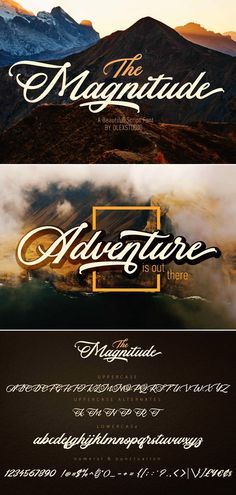 Magnitude is a beautiful script font for timeless design. Perfect for shirts, branding and logo design. #scriptfont #branding #logodesign Best Script Fonts, Cursive Fonts, Calligraphy Fonts, Type Fonts, Handwritten Fonts, Graphic Design Fonts, Web Design, Graphic Designers, Vector Design
