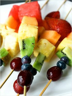 Taste the St. Patrick's Day rainbow with these fruit skewers. Healthy and fun to make! http://www.ivillage.com/st-patrick-s-day-snacks-make-your-kids/6-a-525330