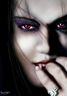 The only sparkle to my vampires would be the ladies eye shadow. Eyes are not red either.