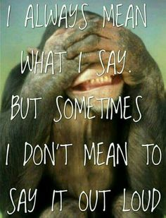 But sometimes i dont mean to say it out loud life quotes funny quotes quote life funny quotes Smart Quotes, Motivational Quotes For Life, Funny Quotes About Life, Daily Quotes, Life Quotes, Funny Animal Quotes, Funny Animals, Animal Sayings, Always Meaning