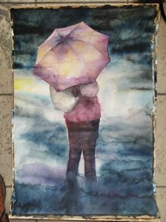 Watercolor on paper - Waiting in the rain My Works, Watercolor Paintings, Waiting, Rain, Paper, Rain Fall, Watercolor Drawing, Watercolors, Watercolour Paintings
