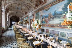 The luxury Gallery for your castle wedding in Italy http://www.prestigeweddingsitaly.com/portfolio-items/enchanted-wedding-castle-frescoed-galleries-wedding-italy/