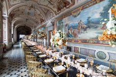 The luxury Gallery for your castle wedding in Italy http://www.prestigeweddingsitaly.com/portfolio-items/enchanted-wedding-castle-frescoed-galleries-wedding-italy/