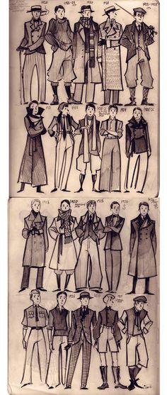 fashion vintage men Sketch 1920