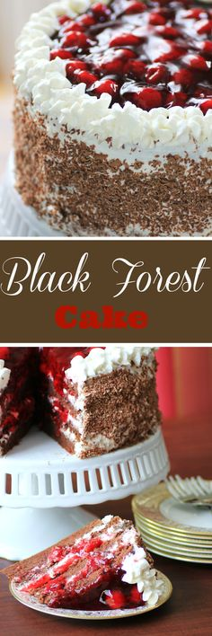 Black Forest Cake by Noshing With The Nolands - A light cake, first drizzled with a Kirsch-laden syrup, then layered with whipped cream and dripping with luscious cherries. Perfect celebration cake for the holidays, Christmas or New Year's Eve!!