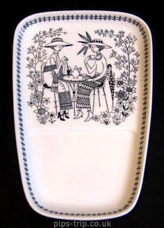 Great image for stitching 1949-1964 Arabia (Finland) 'Emilia' Range Rectangular Plate by Raija Uosikkinen