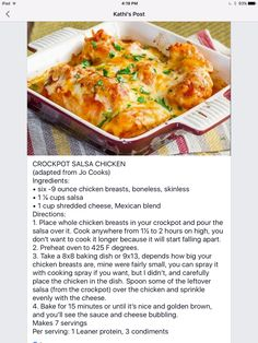 icu ~ Crockpot Salsa Chicken in 2020 Slow Cooker Recipes, Crockpot Recipes, Cooking Recipes, Healthy Recipes, Medifast Recipes, Yummy Recipes, Lean Protein Meals, Lean Meals, Cooked Chicken Recipes