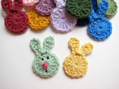 1pc 3 Crochet RABBIT FACE Applique by PinkMeStudio on Etsy, $2.00