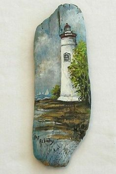 Marblehead Lighthouse ,Original Painting on Driftwood by Pat Asbury - paint and art Painted Driftwood, Driftwood Art, Tole Painting, Painting On Wood, Art Rupestre, Art Pierre, Lighthouse Painting, Driftwood Projects, Beach Crafts