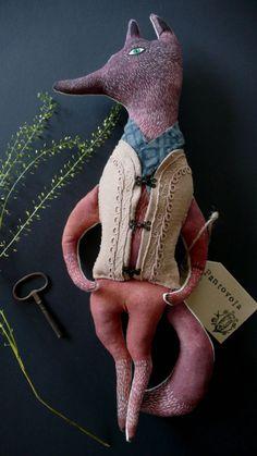 Anouk de Groot - Mr Wolf Gustav fabric art doll by pantovola