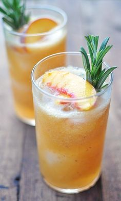 Infused Rosemary & peach cocktail. I used store bought peach nectar ...