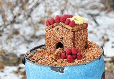 """This year's """"feed the birds"""" project: Edible Birdhouse!  Recipe here: http://blog.imaginechildhood.com/imagine-childhood/2013/02/-little-pink-houses.html"""