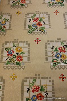 Old 1930's Kitchen Vintage Wallpaper with Red Blue Yellow Flowers in Window