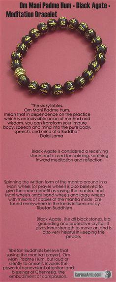 Om Mani Padme Hum: Black Agate Tibetan Buddhist Bead Bracelet