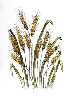 "Wheat still life watercolor 8"" x 12""  original small format art painting on Etsy, $75.00"