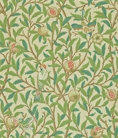 Bird & Pomegranate (212539) - Morris Wallpapers - One of the last of the true Morris designs from 1926, showing birds amongst branches of foliage and pomegranate fruit. Shown in the fresh green and parchment colourway.  Please request sample for true colour match.