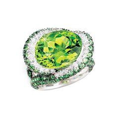 King Jewelers Peridot & Pave Tsavorite Ring with Diamonds