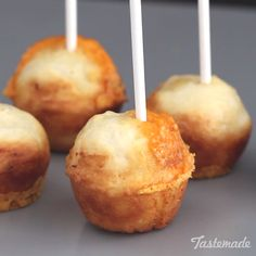 "Bite into these delicious ""cake pops"" to reveal a molten cheesy center!"