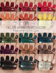 Nail art is a very popular trend these days and every woman you meet seems to have beautiful nails. It used to be that women would just go get a manicure or pedicure to get their nails trimmed and shaped with just a few coats of plain nail polish. Fall Nail Colors, Nail Polish Colors, Fall Nail Polish, Opi Fall Colors 2016, Opi Colors, Green Nail Polish, Pretty Nail Colors, Opi Nail Polish, Nail Polishes