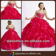 Hot Sell Halter Beaded Bodice Ruffles Full Length Ball Gown For Kids Hot Red Puffy Organza The Most Beautiful Flower Girl Dress