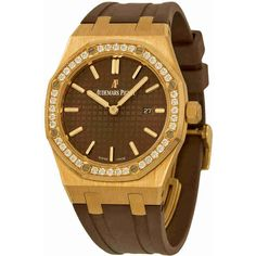 Audemars Piguet Royal Oak Diamond Brown Dial 18 kt Rose Gold Ladies... ($19,680) ❤ liked on Polyvore featuring jewelry, watches, water resistant watches, crown jewelry, analog wrist watch, diamond watches and quartz movement watches