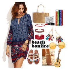 """beach bonfire"" by piggychops on Polyvore featuring Edie Parker, Smashbox and Yamaha"