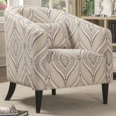 Coaster Company Accent Chair, Off White/Blue/Grey, Printed Linen, Black Leg