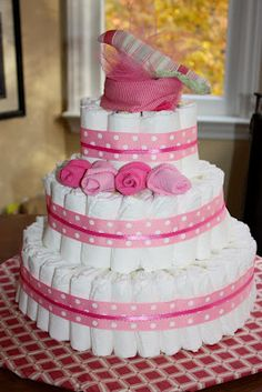 Wanna Make Something of It?: Diaper Cake for a Baby Girl