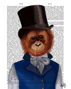 TOP HAT NEWS...Orangutan in a Top Hat.  Print of an original illustration by FabFunky.    ------------------------------------------------------------  Initial