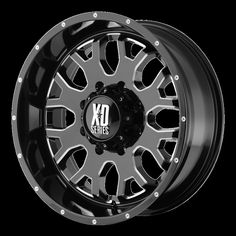 Kmc-xd Wheels KMC XD Series 808 Gloss Black w/ Milled Accents bp b/s 18 offset, Size: 20 x 9 Rims For Cars, Rims And Tires, Wheels And Tires, 24 Rims, Goodyear Wrangler, Black Wheels, Black Rims, Custom Wheels, Diesel Trucks