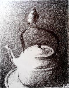 Ink Pen Drawings, Ink Pen Art, Dark Art Drawings, Art Drawings Sketches, Ballpoint Pen Art, Black Pen Drawing, Drawing Art, Fountain Pen Drawing, Scribble Art