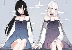 Fancy Royal Hairstyle For Anime Girls Anime Girlxgirl, Chica Anime Manga, Manga Kawaii, Kawaii Anime Girl, Anime Art Girl, Anime Girls, Anime Sisters, Anime Siblings, Friend Anime