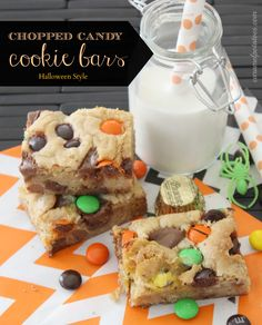 Chopped Candy Cookie Bars.  Yummy way to use up that excess candy.  Make them for holiday guests and goodie trays! (easy)