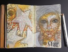 Mixed media art journal page - Star